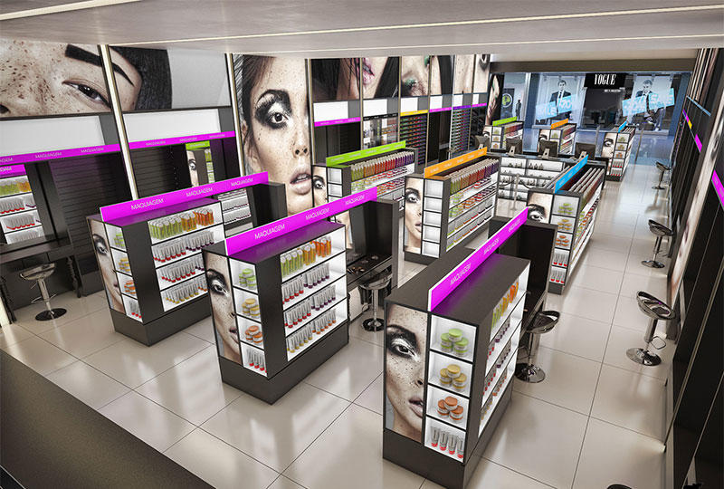 cosmetic showcase display
