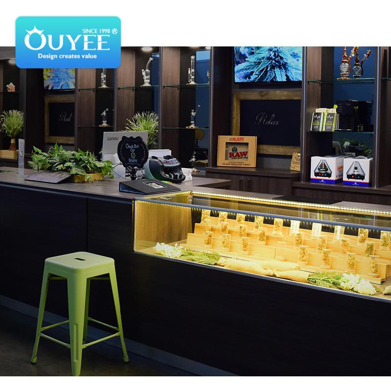 custom cannabis display case cannabis table led display dispensary  cafe design